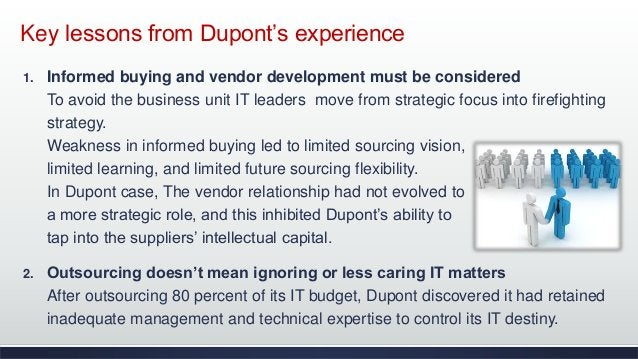 Key lessons from Dupont's experience 1. Informed buying and vendor development must be considered To avoid the business un...