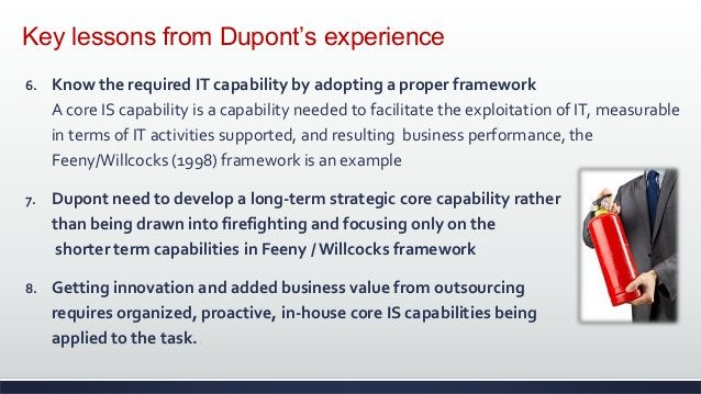 Key lessons from Dupont's experience 6. Know the required IT capability by adopting a proper framework A core IS capabilit...