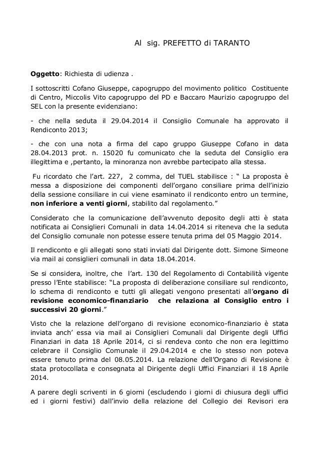 Al sig. PREFETTO di TARANTO Oggetto: Richiesta di udienza . I sottoscritti Cofano Giuseppe, capogruppo del movimento polit...