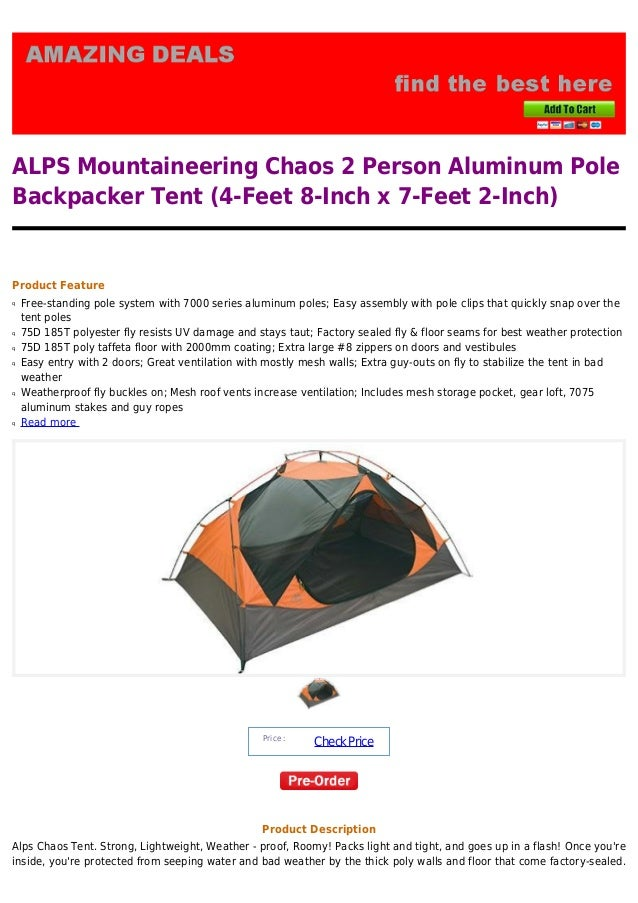 ALPS Mountaineering Chaos 2 Person Aluminum PoleBackpacker Tent (4-Feet 8-Inch x ...  sc 1 st  SlideShare & Alps mountaineering chaos 2 person aluminum pole backpacker tent 4 feu2026