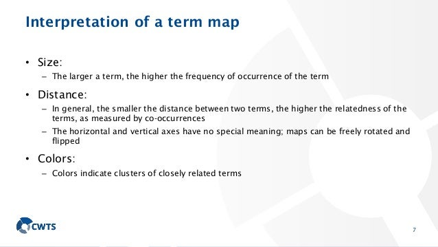 Interpretation of a term map • Size: – The larger a term, the higher the frequency of occurrence of the term • Distance: –...