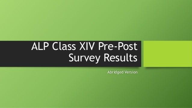 ALP Class XIV Pre-Post Survey Results Abridged Version