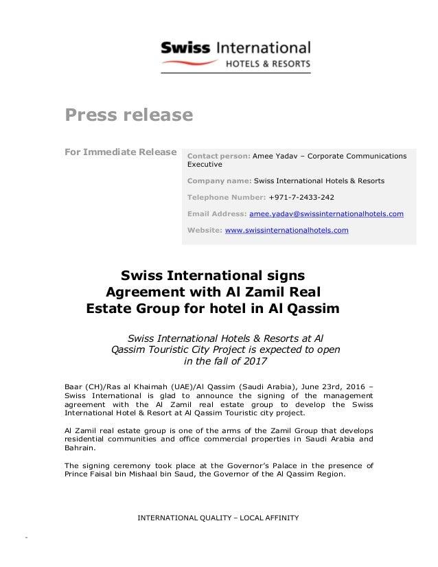 Swiss International Signs Agreement For Hotel In Al Qassim Saudi Ara