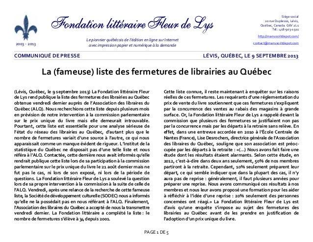 2003 - 2013 Le pionnier québécois de l'édition en ligne sur Internet avec impression papier et numérique à la demande Sièg...