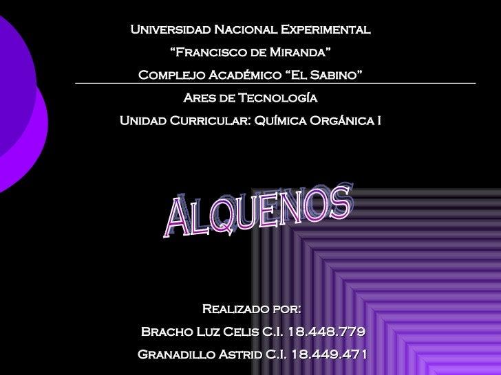 """Universidad Nacional Experimental """" Francisco de Miranda"""" Complejo Académico """"El Sabino"""" Ares de Tecnología Unidad Curricu..."""