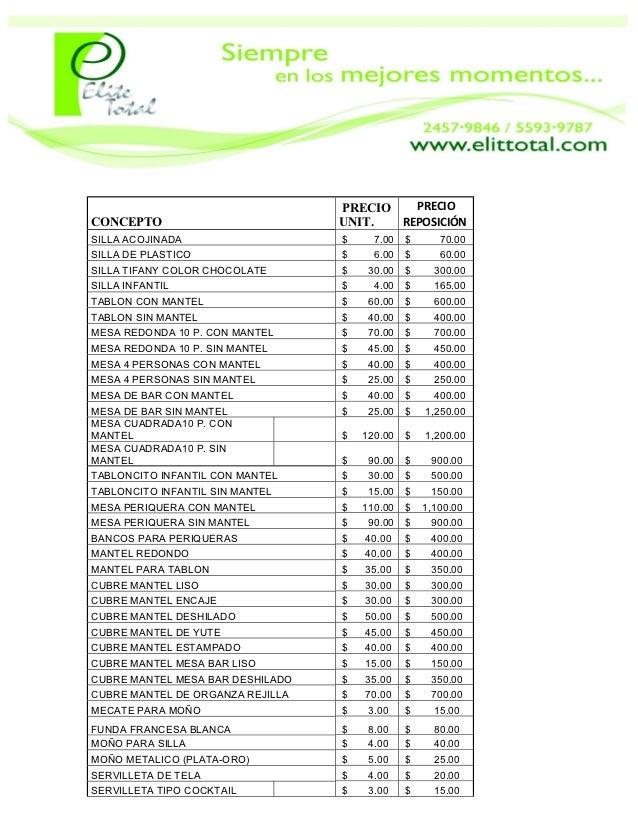 PRECIO   PRECIOCONCEPTO                          UNIT.  REPOSICIÓNSILLA ACOJINADA                   $     7.00   $      70...