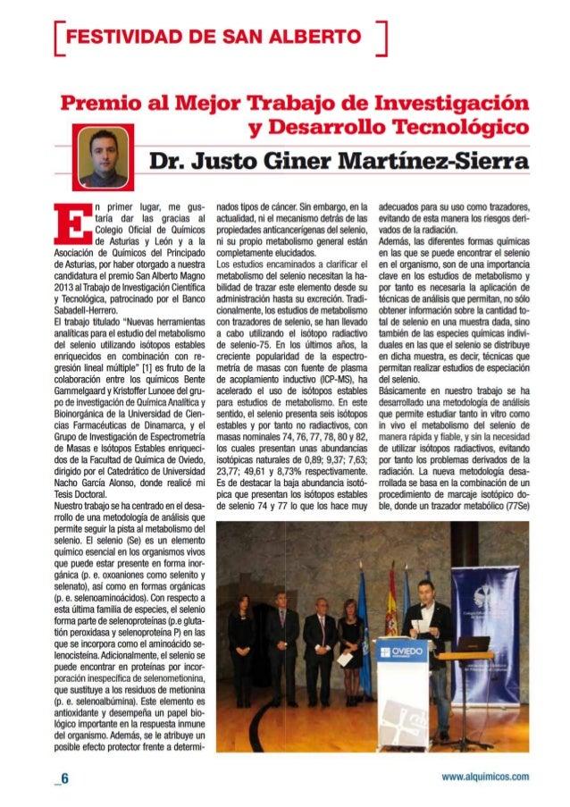 Premio al Mejor Trabajo de Investigación y Desarrollo Tecnológico: Selenio