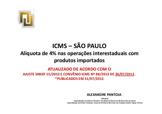 ICMS – SÃO PAULO Alíquota de 4% nas operações interestaduais com produtos importadosprodutos importados ALEXANDRE PANTOJA ...
