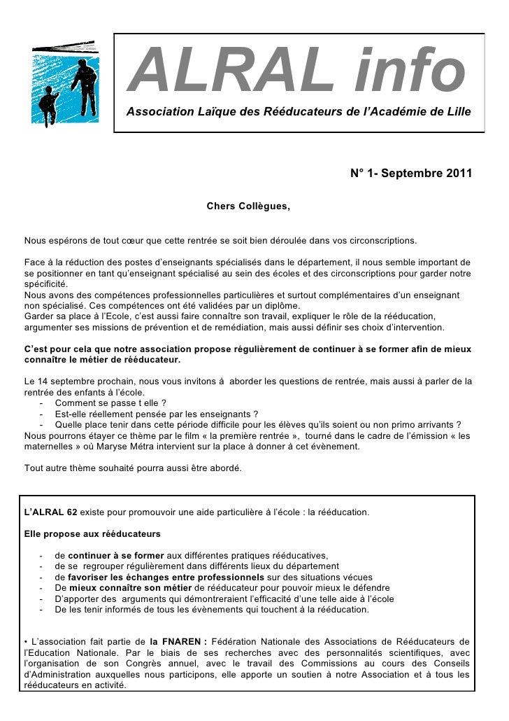 ALRAL info                        Association Laïque des Rééducateurs de l'Académie de Lille                              ...