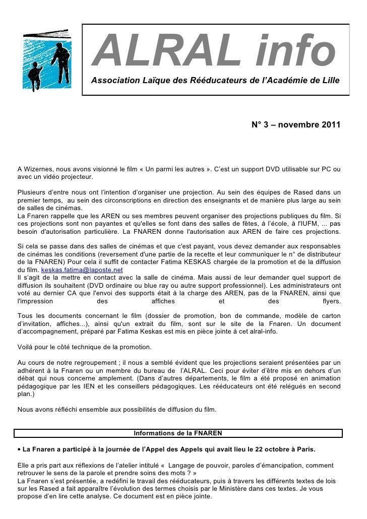 Alral info n°3 nov 2011