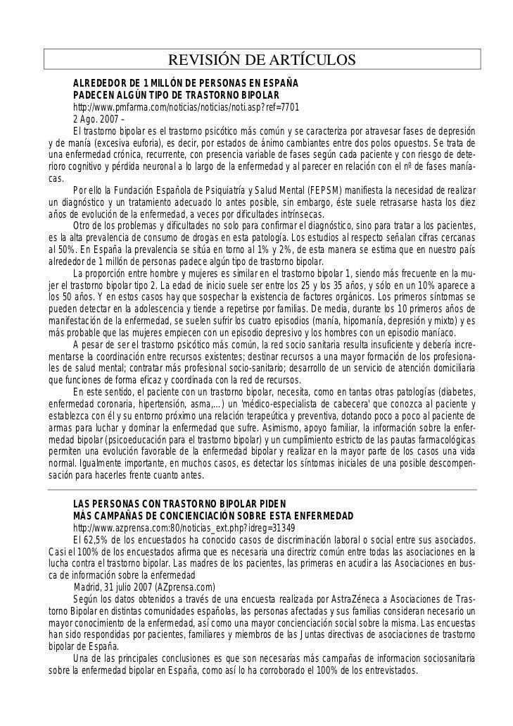 REVISIÓN DE ARTÍCULOS        ALREDEDOR DE 1 MILLÓN DE PERSONAS EN ESPAÑA        PADECEN ALGÚN TIPO DE TRASTORNO BIPOLAR   ...