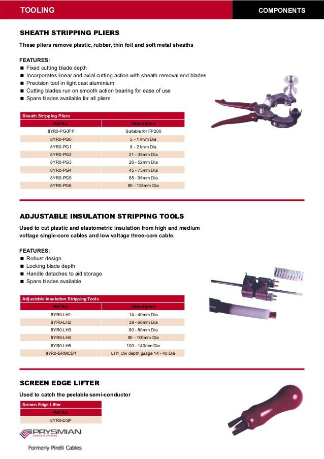 Prysmian 8yro Lh Adjustable Insulation Stripping Tools