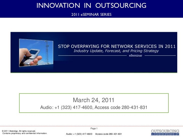 INNOVATION IN OUTSOURCING                                                         2011 eSEMINAR SERIES                    ...