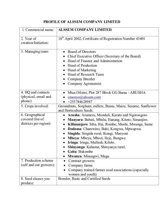 PROFILE OF ALSSEM COMPANY LIMITED 1. Commercial name: ALSSEM COMPANY LIMITED. 2. Year of creation/Initiation: 18th April 2...