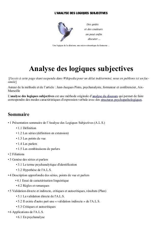L'ANALYSE DES LOGIQUES SUBJECTIVES                    Analyse des logiques subjectives [laccès à cette page étant suspendu...