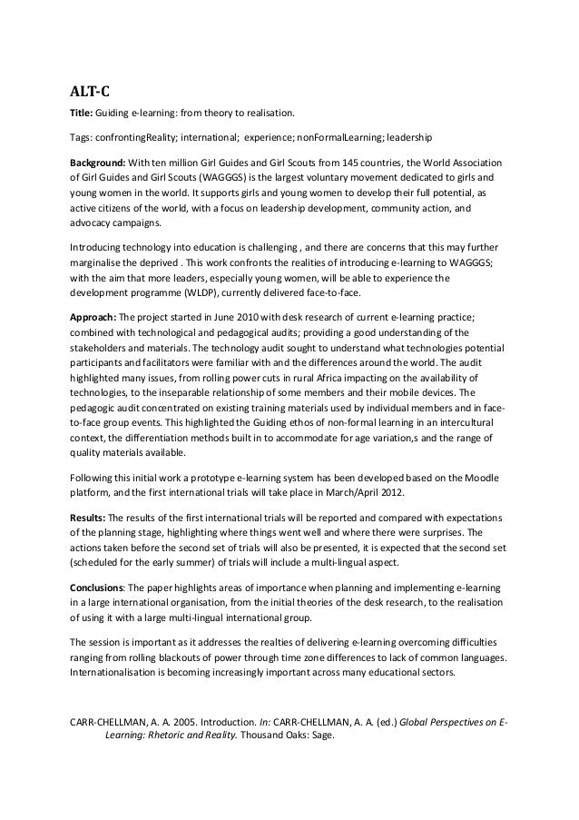 ALT-CTitle: Guiding e-learning: from theory to realisation.Tags: confrontingReality; international; experience; nonFormalL...