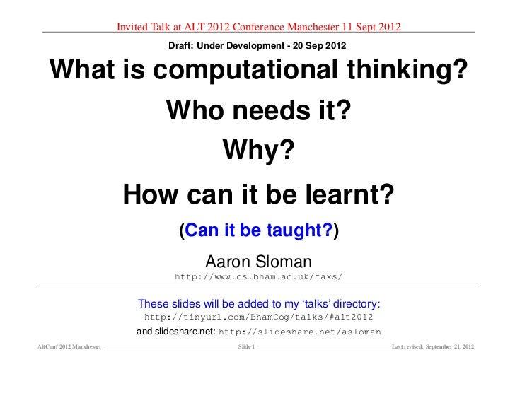 Invited Talk at ALT 2012 Conference Manchester 11 Sept 2012                                    Draft: Under Development - ...