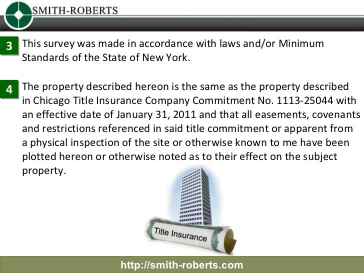 3 This survey was made in accordance with laws and/or Minimum   Standards of the State of New York.4 The property describe...