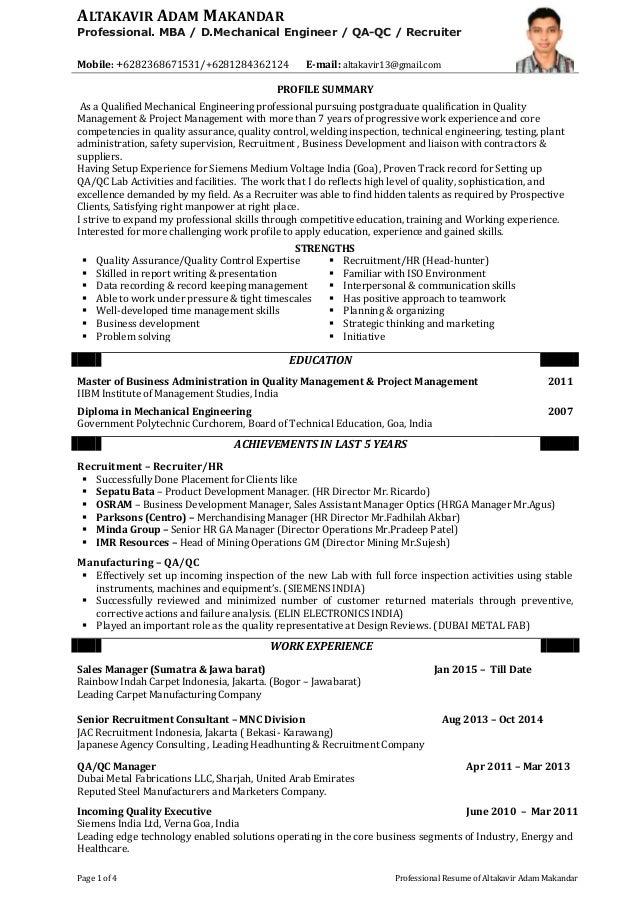 Altakavir adam professional resume