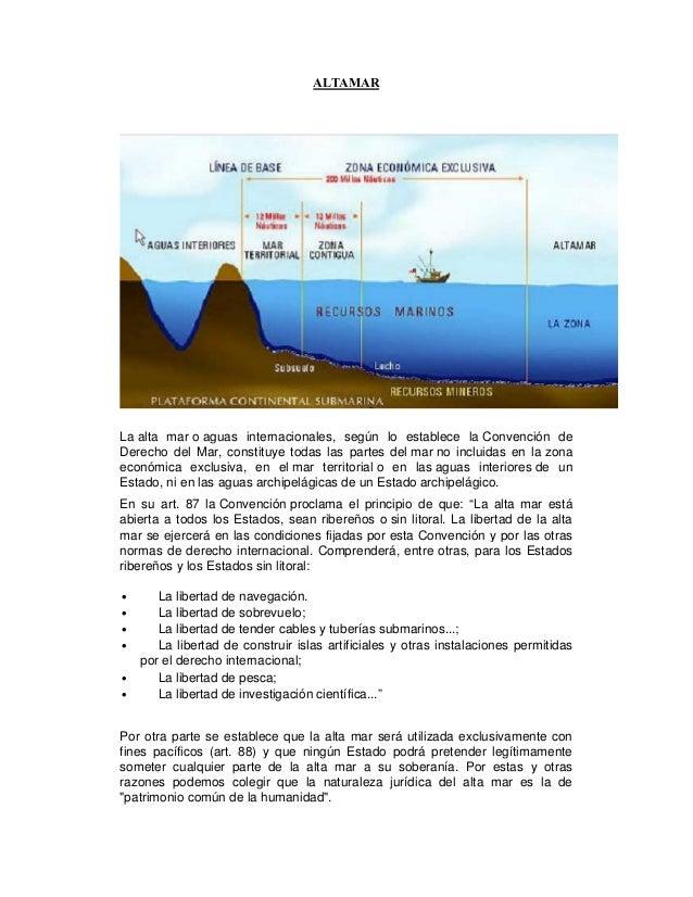 ALTAMARLa alta mar o aguas internacionales, según lo establece la Convención deDerecho del Mar, constituye todas las parte...