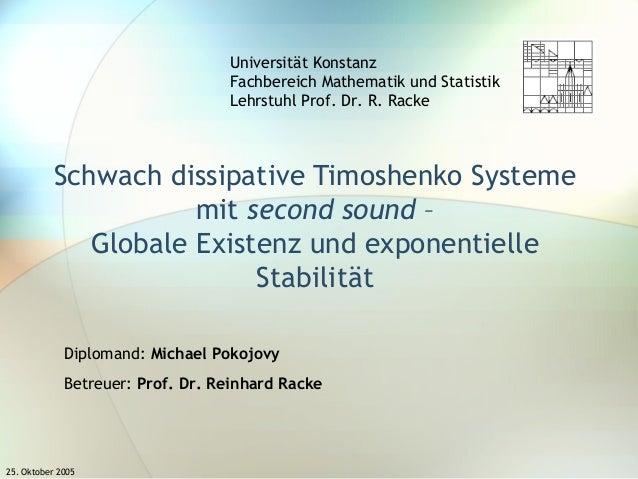 25. Oktober 2005 Schwach dissipative Timoshenko Systeme mit second sound – Globale Existenz und exponentielle Stabilität U...