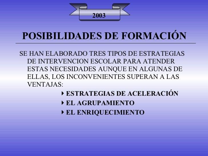 POSIBILIDADES DE FORMACIÓN 2003 <ul><li>SE HAN ELABORADO TRES TIPOS DE ESTRATEGIAS DE INTERVENCION ESCOLAR PARA ATENDER ES...