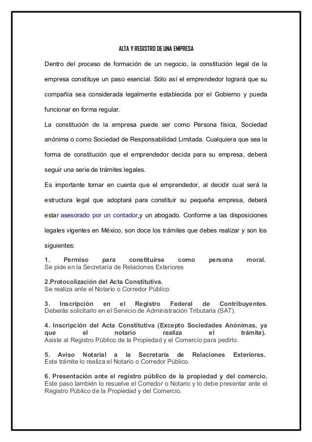 ALTA Y REGISTRO DE UNA EMPRESA Dentro del proceso de formación de un negocio, la constitución legal de la empresa constitu...