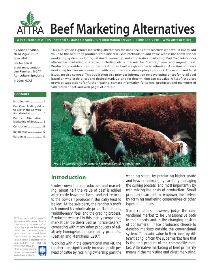 ATTRA                               Beef Marketing Alternatives    A Publication of ATTRA - National Sustainable Agricultu...