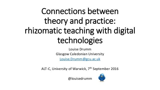 Connections between theory and practice: rhizomatic teaching with digital technologies Louise Drumm Glasgow Caledonian Uni...
