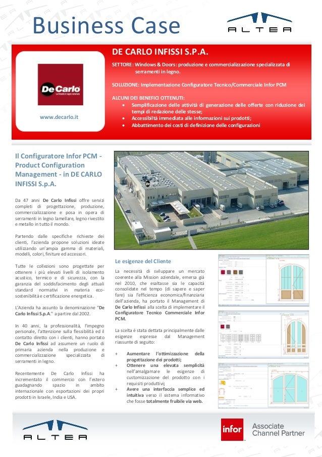 Business Case DE CARLO INFISSI S.P.A. SETTORE: Windows & Doors: produzione e commercializzazione specializzata di serramen...