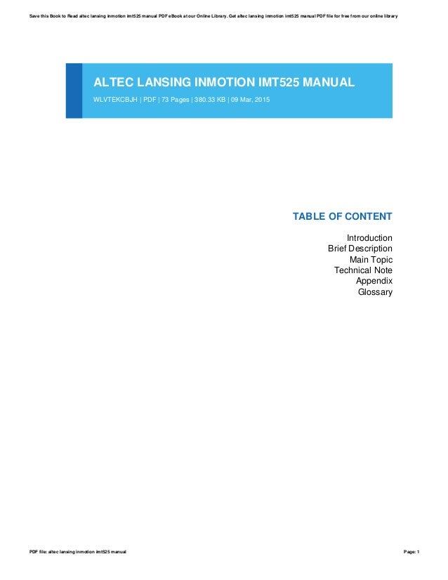 altec lansing inmotion imt525 manual rh slideshare net Altec Lansing Bluetooth Speaker Altec Lansing 251 Speakers Manual