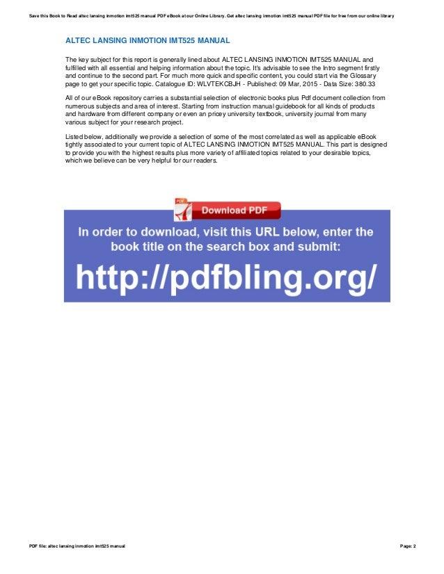 altec lansing inmotion imt525 manual rh slideshare net Lansing Altec Service Manuals Altec Lansing InMotion Manual