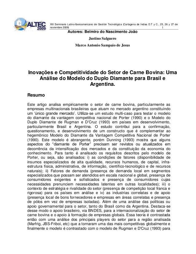 XIII Seminario Latino-Iberoamericano de Gestión Tecnológica (Cartagena de Indias D.T y C., 25, 26 y 27 de noviembre 2009) ...