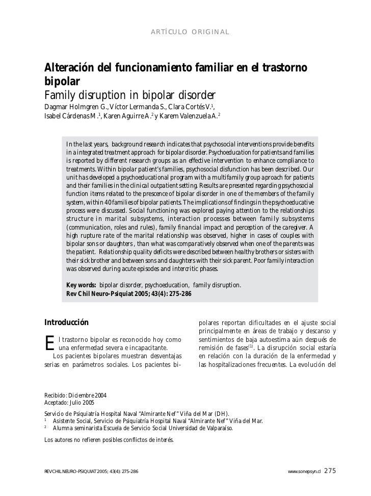 ARTÍCULO ORIGINALAlteración del funcionamiento familiar en el trastornobipolarFamily disruption in bipolar disorderDagmar ...