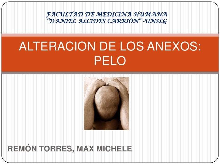 """REMÓN TORRES, MAX MICHELE<br />ALTERACION DE LOS ANEXOS:PELO<br />FACULTAD DE MEDICINA HUMANA """"DANIEL ALCIDES CARRIÓN"""" -UN..."""
