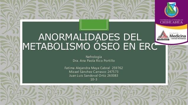 ANORMALIDADES DEL METABOLISMO ÓSEO EN ERC Nefrología Dra. Ana Paola Rico Portillo Fatima Alejandra Maya Cabral 259762 Miza...