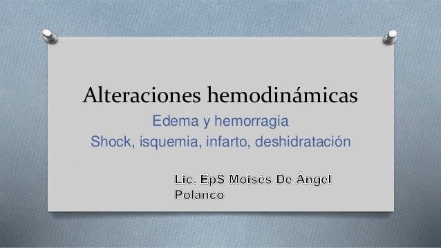 Alteraciones hemodinámicas Edema y hemorragia Shock, isquemia, infarto, deshidratación
