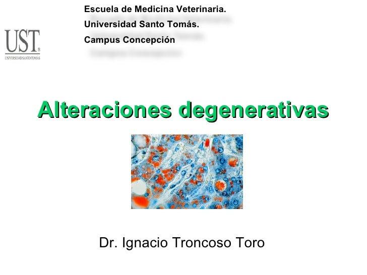 Dr. Ignacio Troncoso Toro Alteraciones degenerativas Escuela de Medicina Veterinaria. Universidad Santo Tomás. Campus Conc...