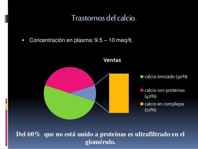 Trastornos del calcio.   Concentración en plasma: 9.5 – 10 meq/lt.  Ventas  calcio ionizado (50%)  calcio con proteinas  ...