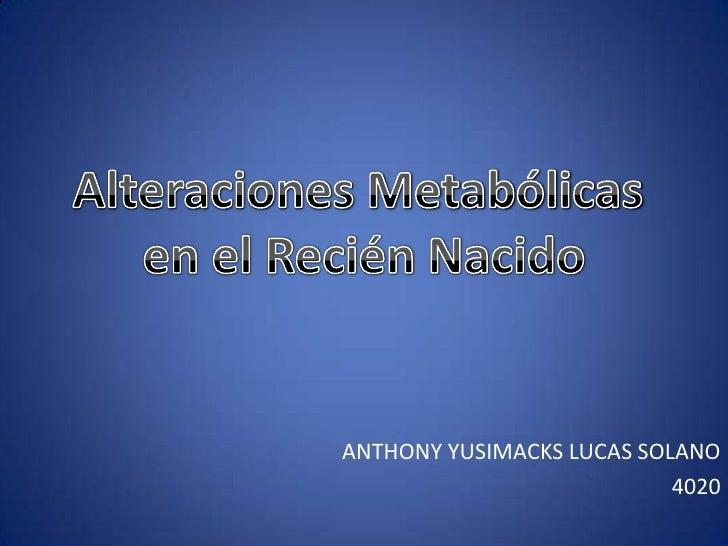 Alteraciones Metabólicas <br />en el Recién Nacido<br />ANTHONY YUSIMACKS LUCAS SOLANO<br />4020<br />