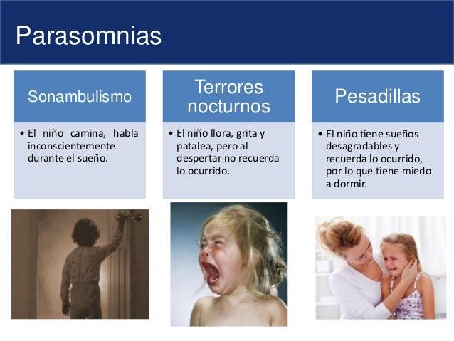 Parasomnias Sonambulismo • El niño camina, habla inconscientemente durante el sueño. Terrores nocturnos • El niño llora, g...