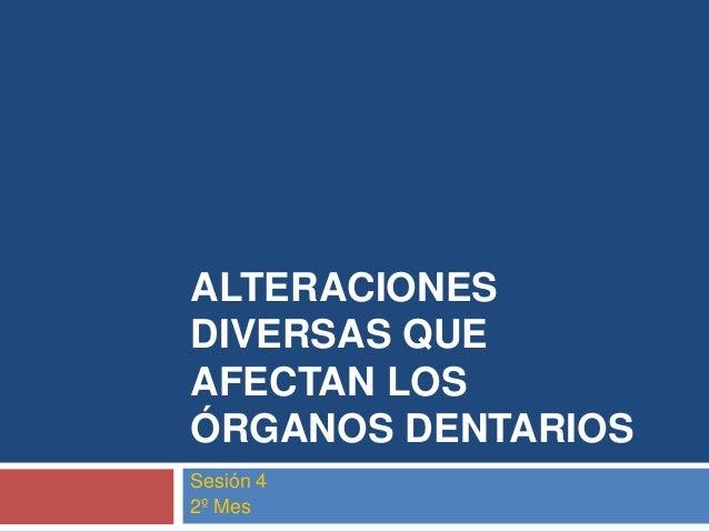 ALTERACIONES DIVERSAS QUE AFECTAN LOS ÓRGANOS DENTARIOS Sesión 4 2º Mes