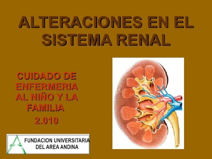 ALTERACIONES EN EL SISTEMA RENAL CUIDADO DE ENFERMERIA AL NIÑO Y LA FAMILIA  2.010