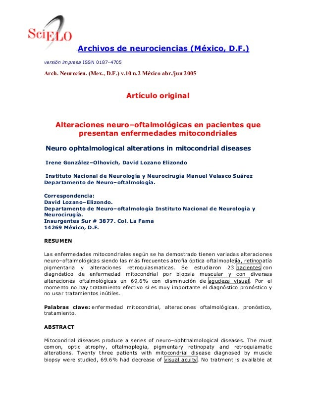 .Archivos de neurociencias (México, D.F.) versión impresa ISSN 0187-4705 Arch. Neurocien. (Mex., D.F.) v.10 n.2 México abr...