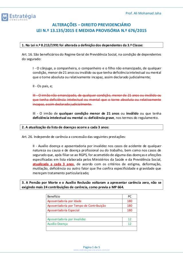 Prof. Ali Mohamad Jaha Página 1 de 5 ALTERAÇÕES – DIREITO PREVIDENCIÁRIO LEI N.º 13.135/2015 E MEDIDA PROVISÓRIA N.º 676/2...