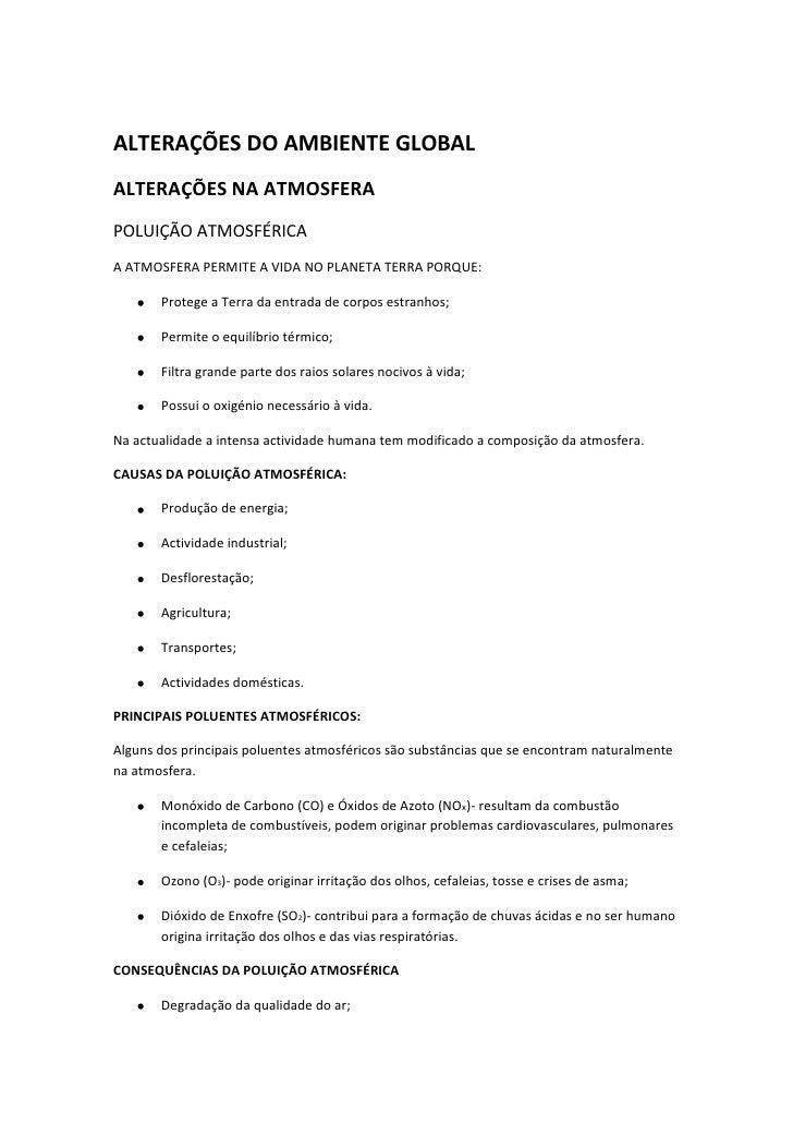 ALTERAÇÕES DO AMBIENTE GLOBAL<br />ALTERAÇÕES NA ATMOSFERA<br />POLUIÇÃO ATMOSFÉRICA<br />A ATMOSFERA PERMITE A VIDA NO PL...