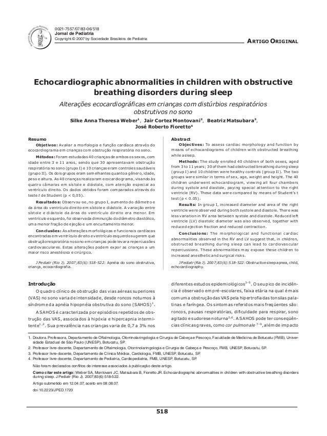 0021-7557/07/83-06/518 Jornal de Pediatria Copyright © 2007 by Sociedade Brasileira de Pediatria ARTIGO ORIGINAL Echocardi...