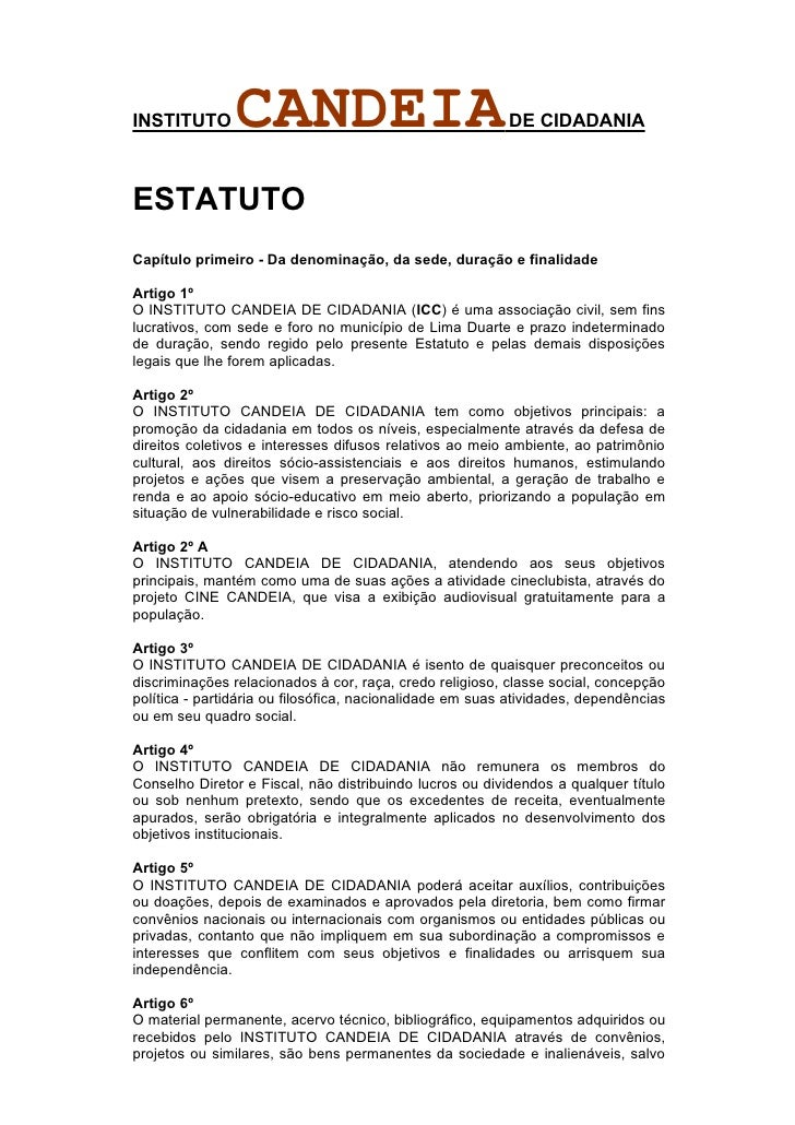 Estatuto do Instituto Candeia de Cidadania aprovado em abril de 2010