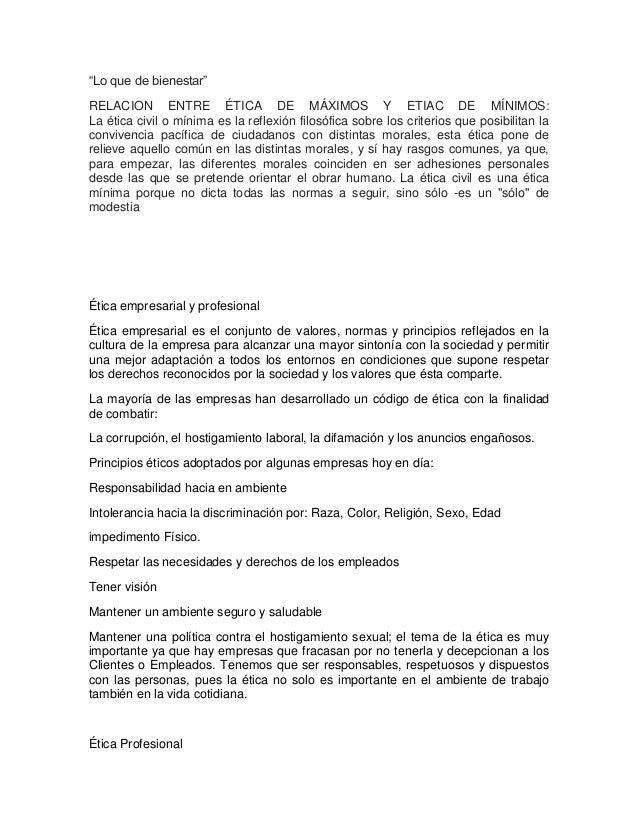 """""""Lo que de bienestar"""" RELACION ENTRE ÉTICA DE MÁXIMOS Y ETIAC DE MÍNIMOS: La ética civil o mínima es la reflexión filosófi..."""