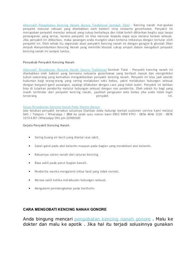 Alternatif Pengobatan Kencing Nanah Secara Tradisional Sembuh Total - Kencing nanah merupakan penyakit menular seksual yan...